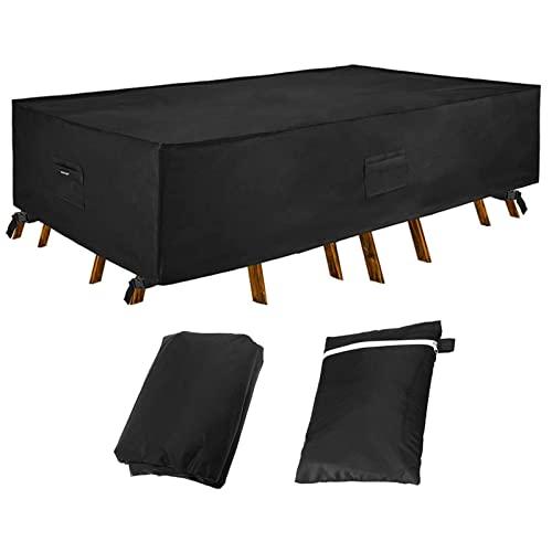 Mingyu Cubierta de Mesa Impermeable,Funda para Muebles De Jardín,420D Oxford Impermeable Cubierta de Exterior Funda Protectora Muebles, protección contra el Polvo y los Rayos UV(250x150x90cm)