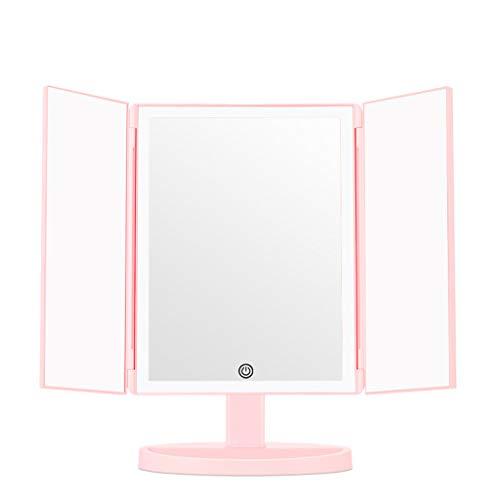 Exquise make-up spiegel met multi-hoek, voor desktops, dubbele voeding met vergroting, cadeau voor meisjes