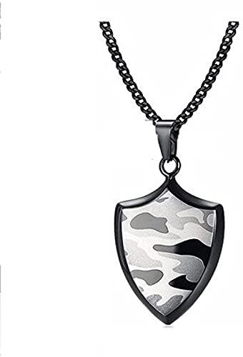 Collar con Colgante de Escudo de Camuflaje Negro y Militar de Acero Inoxidable para Hombres, joyería Masculina de Camuflaje de Bosque Militar de 24 Pulgadas