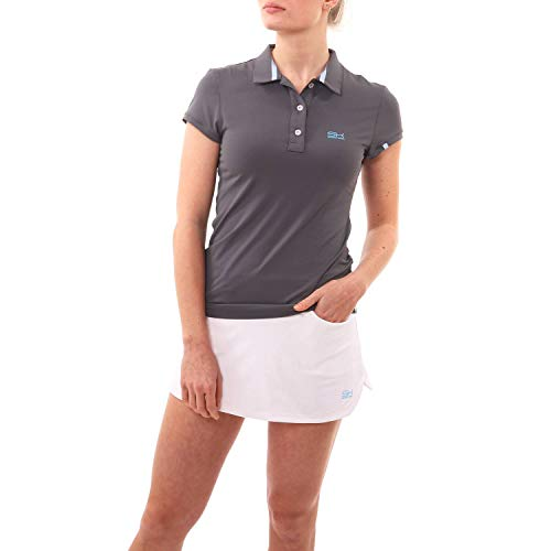 SPORTKIND T-Shirt Polo pour Tennis/Golf/Sport pour Filles et Femmes, Gris, Taille XX-Large (44-46)