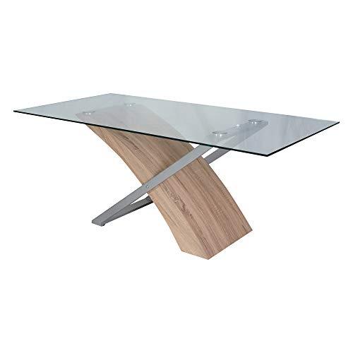 DMORA Moderno, 180x90 cm, Legno e Vetro, Tavolo da Pranzo, Design Innovativo, Rovere