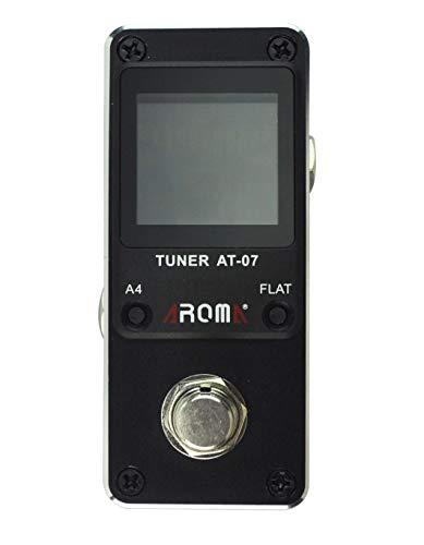 Tom'sline Engineering Pedal Tuner AT07 Cromático para guitarra (6-7 cuerdas) y bajo (4-6 cuerdas) Pantalla en color de alta definición Pitch 430-450Hz 4 Opciones planas True Bypass Nano Tamaño