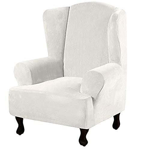 BXFUL Sesselhusse Sesselbezug, Stretchhusse für Ohrensessel, Elastisch Husse für Fernsehsessel, Weicher Sesselüberwürfe Sesselschoner Sofabezug (Zahn weiß)