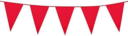 Boland 74782 – stor vimpelkedja röd, 1 st., storlek 45 x 1 000 cm, flaggkedja, foliehänge, karneval, temafester,...