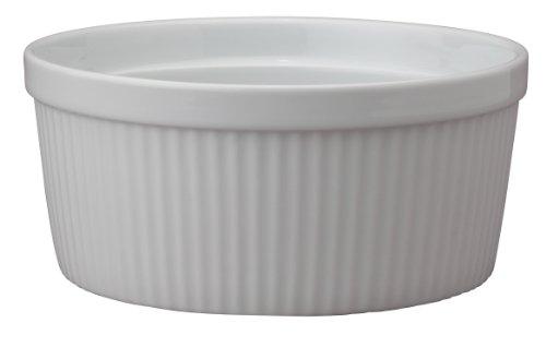 HIC Souffle, Fine White Porcelain, 7.5-Inch, 48-Ounce, 1.5-Quarts Capacity