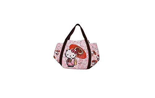 Sanrio Hello Kitty, Japanese Patterns, Handbag Tote Bag for Girls, 30x49x22cm, Japan Import (Kimono and Cherry Blossoms 4027)