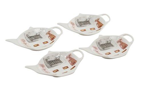 4 Stück Tellerchen für Teebeutel - Teebeutelablage in Geschenkverpackung von DUO (Katzen)