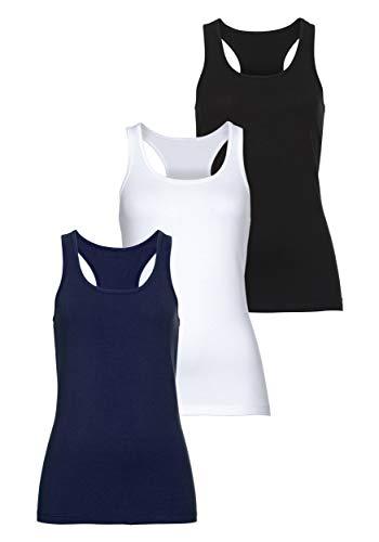 MONYRAY Damen Unterhemd Tanktop mit Ringerrücken(3er Pack) (schwarz/weiß/dunkelblau, M