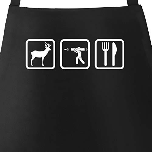 MoonWorks® Kochschürze Grill-Schürze für Männer mit Symbolen Hirsch Jäger Besteck Baumwoll-Schürze Küchenschürze schwarz Unisize