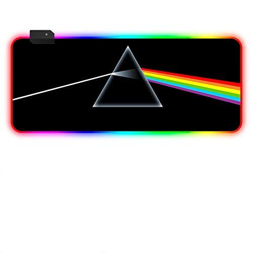 RGB Tapis de Souris Gaming,LED Lumineuse Tapis de Souris,Surface antiderapant pour Les Joueurs de l¡¯Ordinateur PC Dark Side of The Moon Lumière colorée 700x300 MM