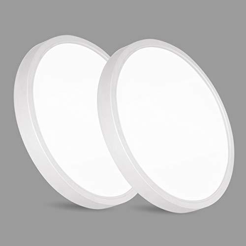 2er 20W LED Deckenleuchte, bapro φ17cm Deckenlampe Bad 890LM 6500K Kaltweiß Mordern Badezimmerlampe für Badezimmer Küche Wohnzimmer Balkon Flur Schlafzimmer Büro