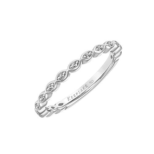 Diamond Stackable Ring, Anniversary Band or Wedding Band with Marquise Design in 925 Sterling Silver...