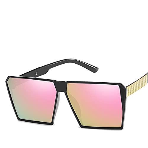 Cuadrado de gran tamaño Gafas de sol Nuevas Gafas de sol Reflectantes Hombres Mujeres Diseñador de Lujo Moda, C2,