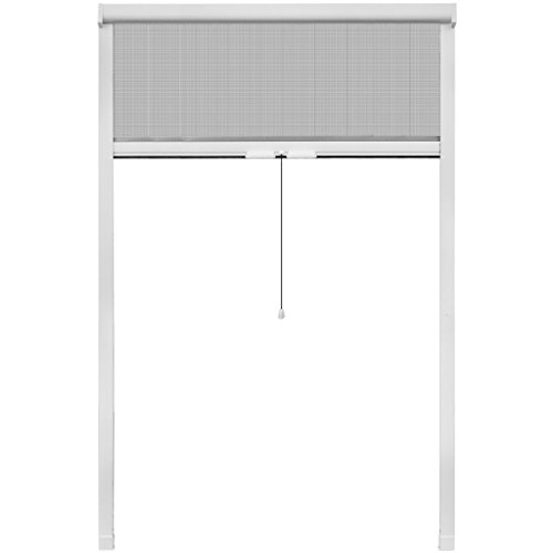 Festnight- Mosquiteras para Ventanas Blanca Enrollable 120 x 170 cm
