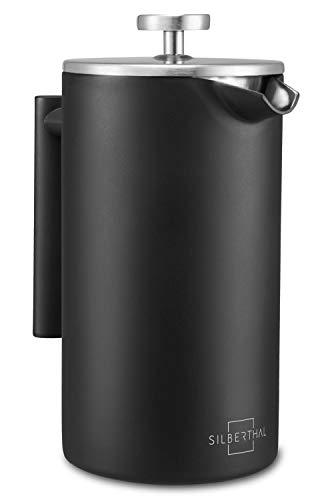 SILBERTHAL French Press Kaffeebereiter 1 Liter – Doppelwandig Thermo-isolierte Kaffeepresse - Edelstahl schwarz – für 6-8 Tassen