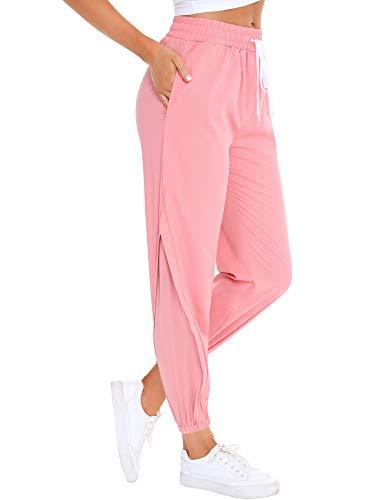 Irevial pantalón chándal de Mujer Largo Verano, Alta Cintura Elástica Malla Joggers Pantalones,Talla Grande Yoga Pants con Bolsillos, Cómodo y Transpirable