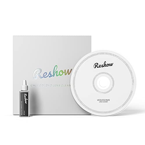 Reshow CD Player Cleaner,Laser Lens Cleaning Disc Cleaning Set for CD/VCD/DVD Player, Included Microfiber Cloth, Cleaning Disc and Cleaning Solution