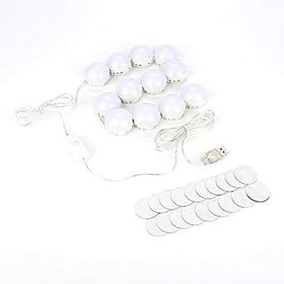 luces led para espejo maquillaje, LED Espejo Vanidad Luces Kit para maquillaje Tocador de vanidad y espejo de baño, 7000 K, 10 piezas de bombillas(12pcs Bulbs)