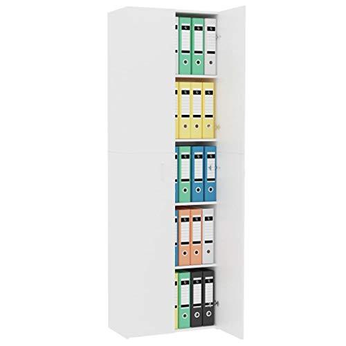 Qnotici Armadio per Ufficio Armadio classificatore scaffale Multiuso Armadio classificatore mobili per Ufficio libreria Bianco 60 × 32 × 190 cm truciolare