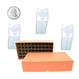 Quarter Coin Tube Box with 50 Square Numis Brand Coin Tubes