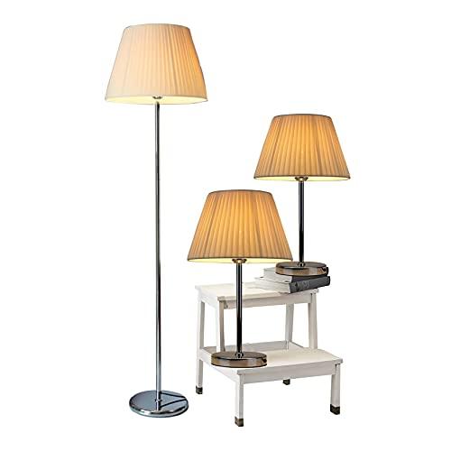LXHLDD Juego De Lámpara De Pie De Mesa De 3 Piezas, 2 Lámparas De Mesa + 1 Juego De Lámpara De Pie, para Sala De Estar/Dormitorio/Mesita De Noche/Hogar