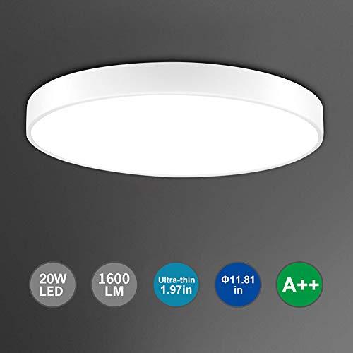 Bellanny LED Deckenleuchte, 20W 1600LM LED Deckenlampe, Ø30cm LED Panel Deckenlampe, 6000K Balkonleuchte, LED Innenleuchte lampe, für Küche Büro,Arbeitszimmer,Schlafzimmer,Flur