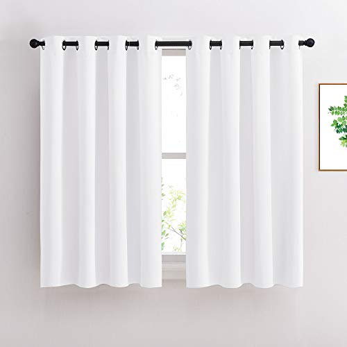 NICETOWN 50% Blackout White Curtain Set, Modern Design Solid Grommet Draperies/Drapes for Basement & Nursery Room (2 Panels, 52 inches Wide, 45 inches Long)