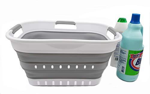 SAMMART 19L (5 gallon) Super Mini Collapsible 3 Handled Plastic Basket - Foldable Pop Up Storage Container/Organizer - Space Saving Hamper/Basket (1, White/Grey)
