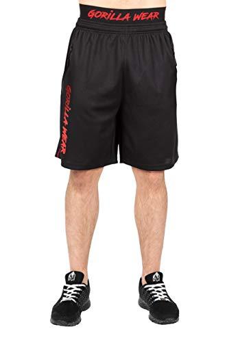 GORILLA WEAR Mercury Mesh Shorts - rot - leichte Kurze Hose mit Logo Aufdruck bequem zum Sport Alltag Freizeit Workout Training Übergröße Atmungsaktiv aus Polyester, 2XL/3XL