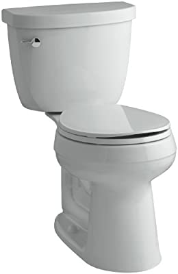 KOHLER K-3888-95 Cimarron Comfort Height Two-Piece Round-Front 1.6 GPF Toilet with AquaPiston Flush Technology and Left-Hand Trip Lever, Ice Grey