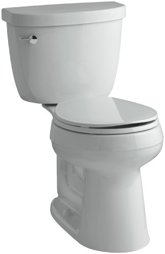 KOHLER K-3887-95 Cimarron Comfort Height Two-Piece Round-Front 1.28 GPF Toilet with AquaPiston Flush Technology and Left-Hand Trip Lever, Ice Grey