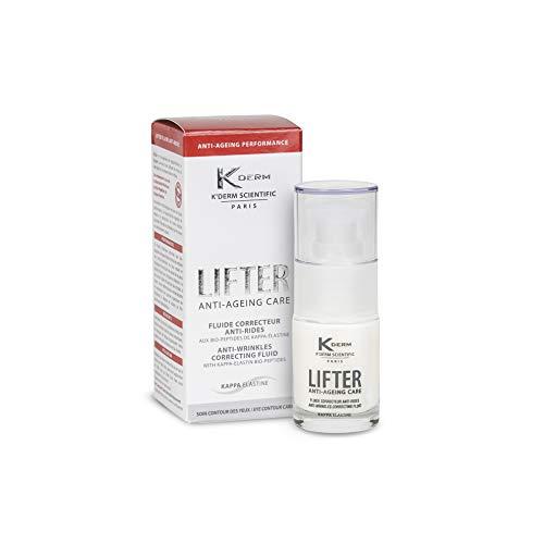 K'Derm - Lifter Fluide Correcteur Anti-Rides pour les Yeux - Soin Anti-Age Contour des Yeux aux Bio-Peptides de Kappa-Elastine - Flacon-Pompe - 15ml