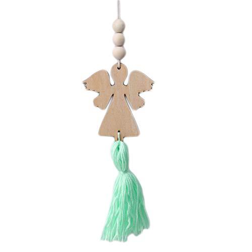 Sperrins Hölzerne Quaste der Ballerina-Mädchen-nordischen Art, die Oornaments-grünen Engel hängt