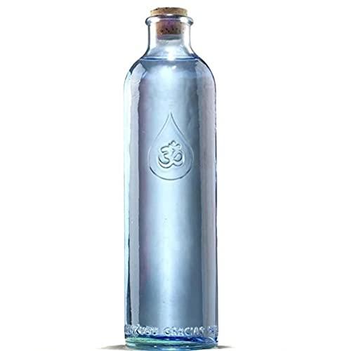 Sacred Essence Om Water Gratitude Bouteille de table en verre recyclé sans plomb 1,2l, avec bouchon en liège naturel