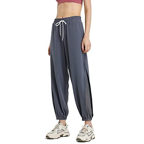 Leggings Fitness No Transparenta,Llevando Pantalones de Yoga Sueltos, Pantalones de Baile de Paquete ultrafinos-Azul Gris_L,Alta Pilates Fitness Mujer Gym Yoga Pantalon