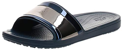 Crocs Damen Sloane Metalblock Slide W Dusch-& Badeschuhe, Blau (Multi Navy/Navy 4jd), 41/42 EU