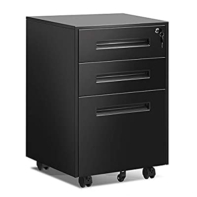 BonusAll Moblie 3 Drawers File Cabinet with Lock A&B