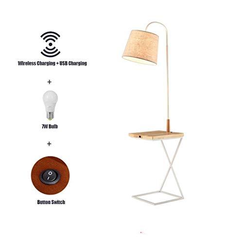 LED Floor lamp met Wireless Charging Pad & USB-poort, Planken & nachtkastje met lamp bevestigd