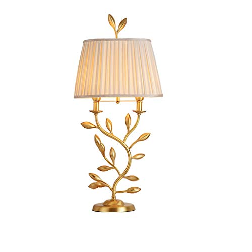 OMYLFQ Table Lamps Copper Bedside Table Lamp Creative Golden Flower Bud Table Lamp Pillar Simple Farmhouse Style Table Lamp Bedroom Study Living Room Desk Lamp Bedside Table Lamp