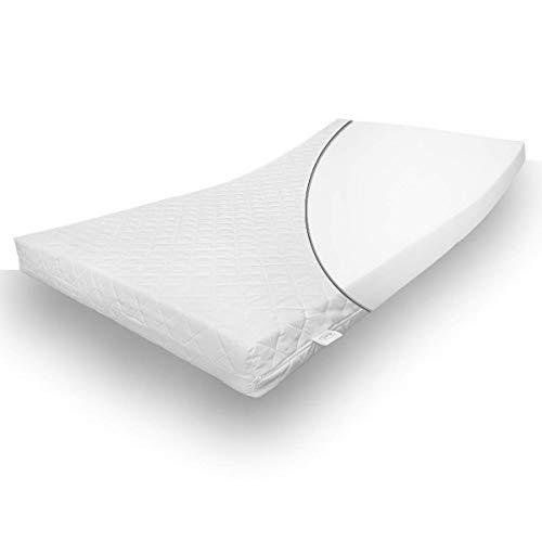 Alcube Kindermatratze für Kinderbett 90x200 cm mit Spannbettlaken - Punktelastische Kaltschaummatratze