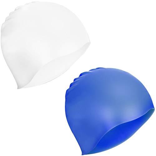 COM-FOUR® 2x badmuts in verschillende kleuren - badmuts gemaakt van siliconen - badmuts voor dames en heren in blauw en wit (2 stuks - donkerblauw. wit)
