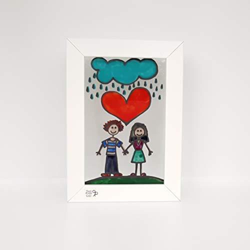 Corazón - Pareja - Cuadro pintado a mano en vidrio - Amor - Nube - Ll