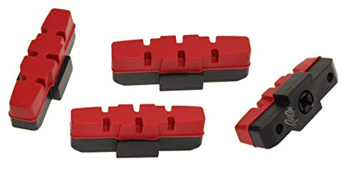 P4B | Hydraulik Power Pads für Magura | Bremsbeläge für Magura Felgenbremse | Länge = 50 mm | In Rot | 2 Paar = 4 Stück