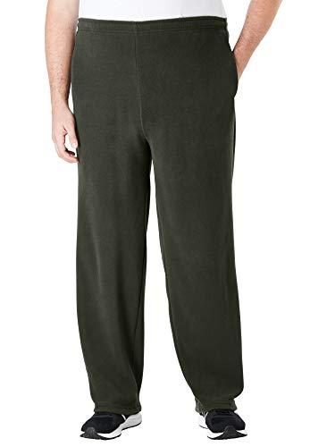 KingSize Men's Big & Tall Explorer Fleece Open-Bottom Sweatpants - Big - XL, Forest Green