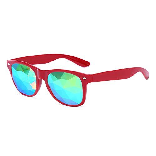 WOJUEF Kaleidoskop Gläser Rave Männer Runde Festival Sonnenbrille Frauen Party Psychedelic Prisma Diffracted Objektiv EDM Sonnenbrille