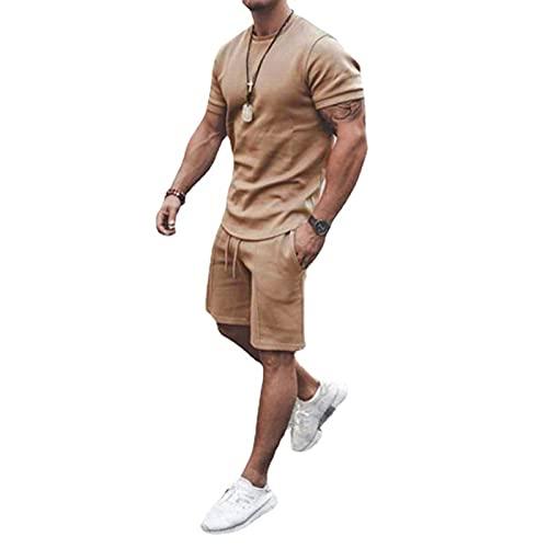 2 Teile Herren Sommer Trainingsanzug Kurzarm Kleidung Set T-Shirt Top + Kordelzug Elastische Taille Shorts Teen Boy Quick Dry Sportswear Männer Daily Home Wear Casual Outfits M-3XL (Khaki, M)