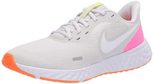 Nike Wmns Revolution 5, Zapatillas para Correr para Mujer, Platinum Tint/White/Pink Blast/Total Orange/Lemon Venom, 35.5 EU