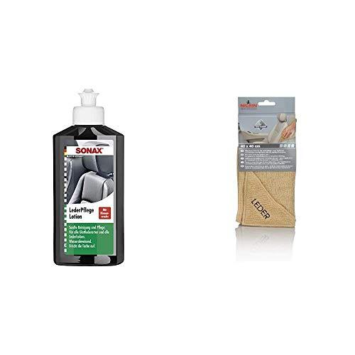 SONAX 291141 Leder-Pflege-Lotion, 250 ml & NIGRIN 71115 Microfasertuch Leder 40 x 40 cm