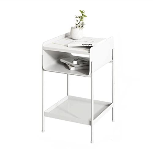 QIFFIY Mesita de noche de mármol, mesa auxiliar de 2 capas hueco de hierro forjado, mesilla de...
