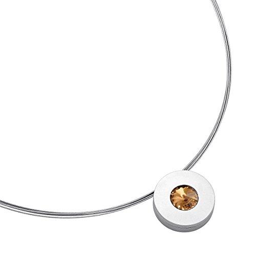 Heideman Halskette Damen Lumen aus Edelstahl Silber farbend matt Kette für Frauen mit Swarovski Stein Kristall Bernstein braun im Fantasie Edelsteinschliff 10mm